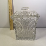 Heavy Etched Crystal Lidded Dish