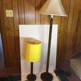 Pair of Vintage Heavy Matching Lamps. One Floor and One Table. Both with Glass Light Bulb Cover