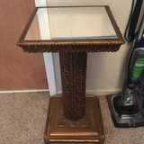 Vintage Ornate Wooden Stand with Mirror Top & Gilt Finish
