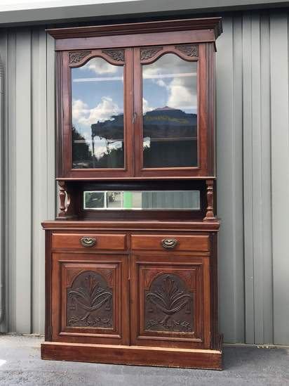 Impressive Early 2 pc Hutch with Beautiful Carvings on the Doors
