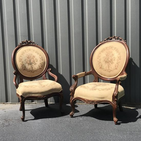 Gorgeous Victorian Antique His & Hers Parlor Chairs with Beautiful Carvings & Floral Upholstery
