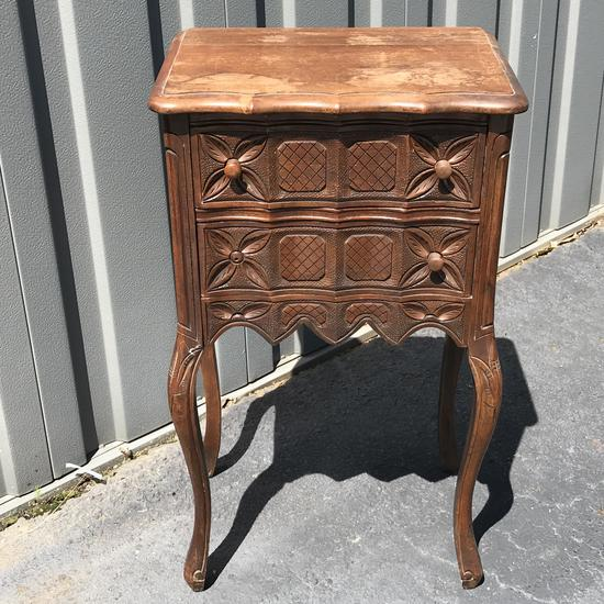 Early Carved Wood Side Table with 2 Drawers