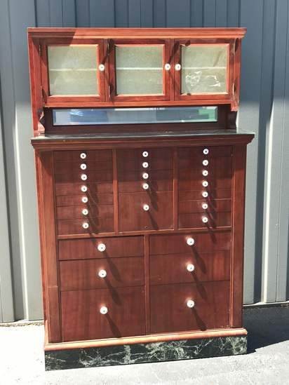 Beautiful Wooden Dental Cabinet with Many Drawers, Mirror Top & Marble Base