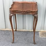 Amazing Intricately Carved Side Table with Queen Anne Legs & GLass Top