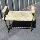 Early Brass Vanity Seat with Upholstered Seat