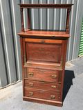 Pretty Vintage Drop Down Secretary w/3 Drawers & Beautiful Carvings