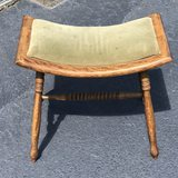 Vintage Tiger Oak Vanity Stool with Hand Spun Legs & Cushioned Top
