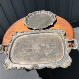 Pair of Large Vintage Silver Plated Platters