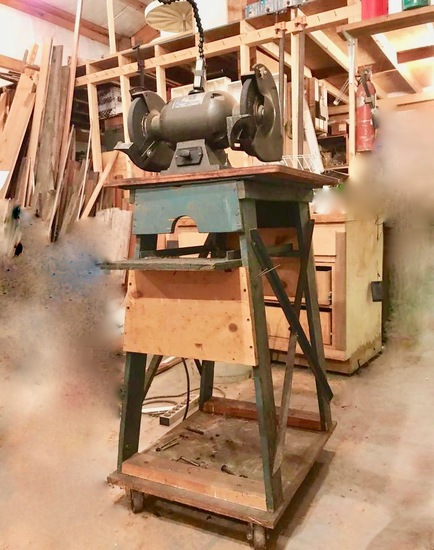 Bench Grinder on Rolling Wooden Stand