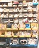 Large Lot of Plastic Shop Organizers in Multiple Sizes Full of Misc Hardware with Wall Rack