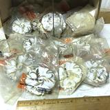 Large Lot of White Enamel & Brass Cabinet Knob Backs - BP-583-BW