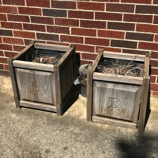 """Pair of Wooden Outdoor Plant Boxes with """"B"""" Etched Sides"""