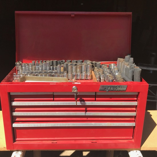 Waterloo Red Metal Multi-Drawer Toolbox w/ Many Sockets, Socket Sets & Ratchets with Extension Bars