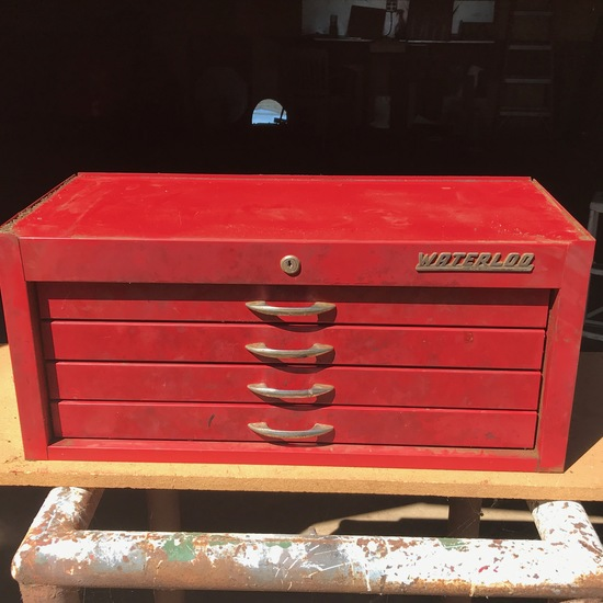 Waterloo Red Metal Multi-Drawer Toolbox with Misc Tools