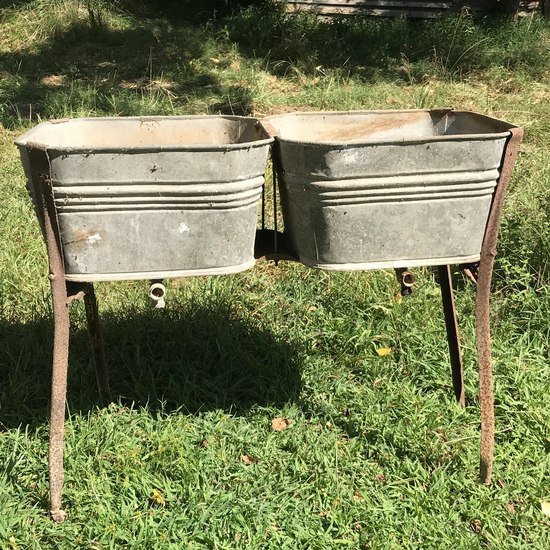 Vintage Double Basin Wash Stand with Legs
