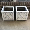 Pair of White Wooden Outdoor Planters