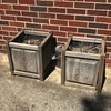"Pair of Wooden Outdoor Plant Boxes with ""B"" Etched Sides"