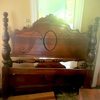 Vintage Wood Full Size Bed Headboard and Footboard