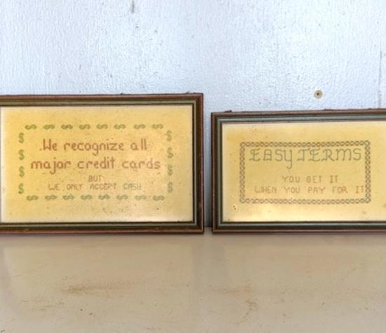 Pair of Vintage Needlework Business Terms Wall Hangings