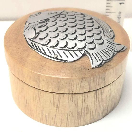 Handmade Wooden Ring Box with Metal Fish Decoration