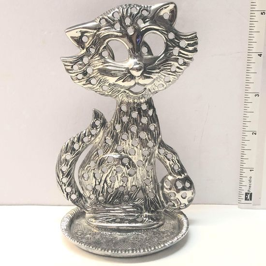 Silver Plated Kitty Pierced Earring Holder