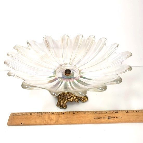 Vintage Iridescent Glass Brass Footed Bowl
