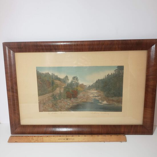 "Antique Signed Wallace Nutting ""A Little River"" Colorized Photo Framed Art"