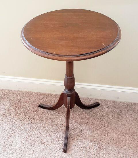 Vintage Round Wood Tea Table