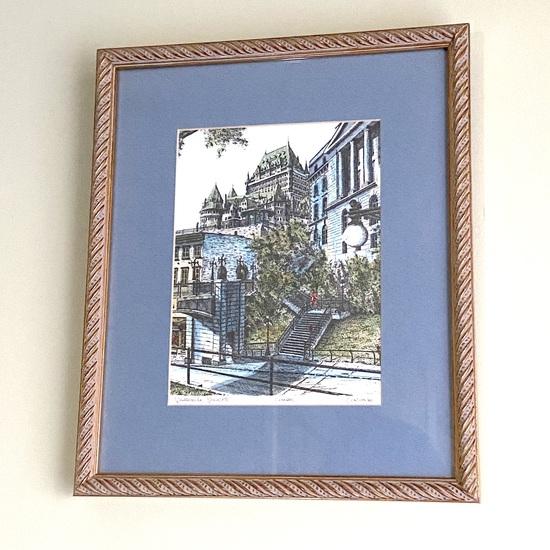 """Framed Lithograph """"Quebec City Canada"""""""