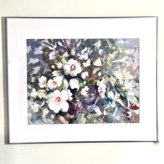"Large Floral Watercolor Signed ""M. Shorkey"" in Frame"