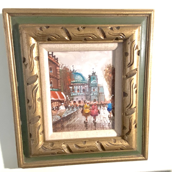 Original Oil Painting of European Town in Nice Carved Wood Frame