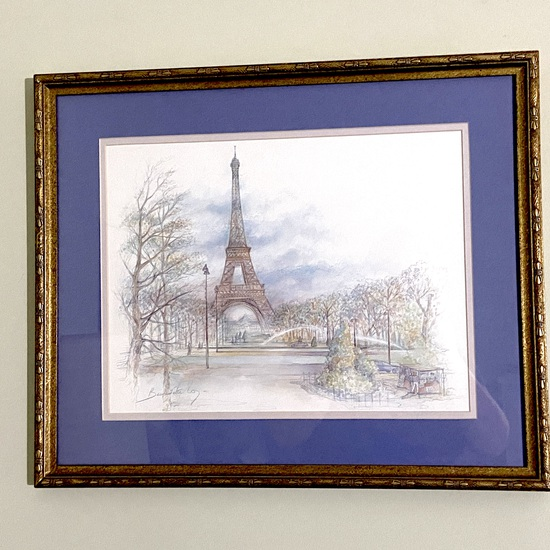 Eiffel Tower Watercolor Signed by Artist