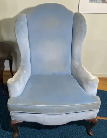 Vintage Blue Velvet Wingback Chair with Queen Anne Legs