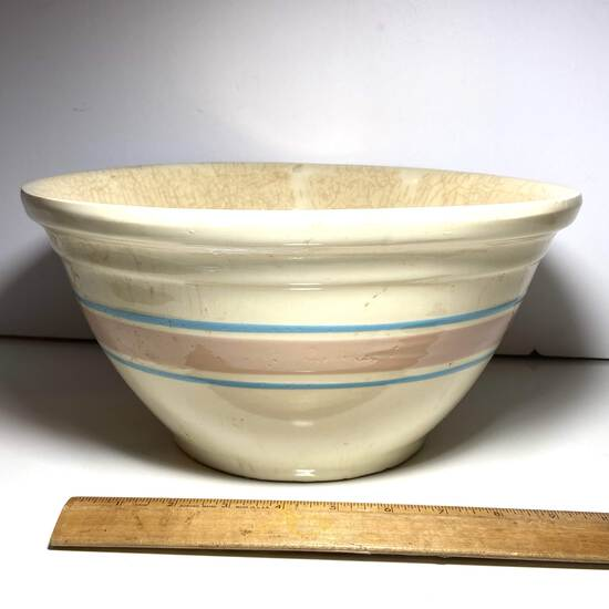 Large Watt Mixing Bowl with Blue & Pink Striped