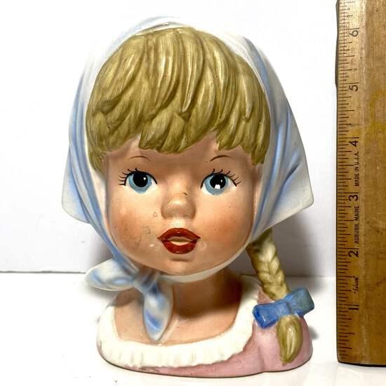 Vintage Head Vase with Blonde Pigtail & Blue Eyes Made in Japan