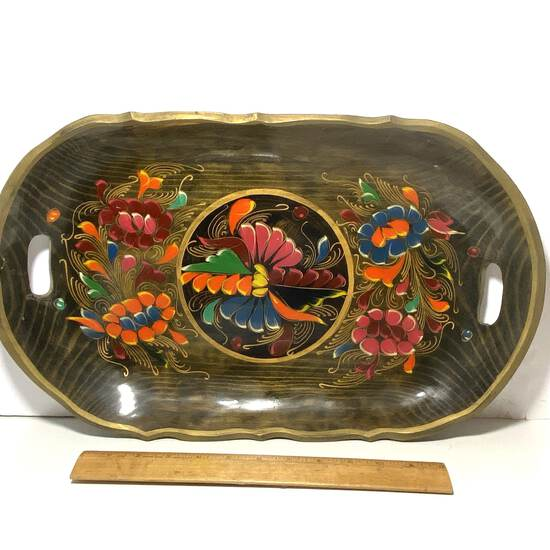 Hand Painted Vintage Colorful Double Handled Serving Platter