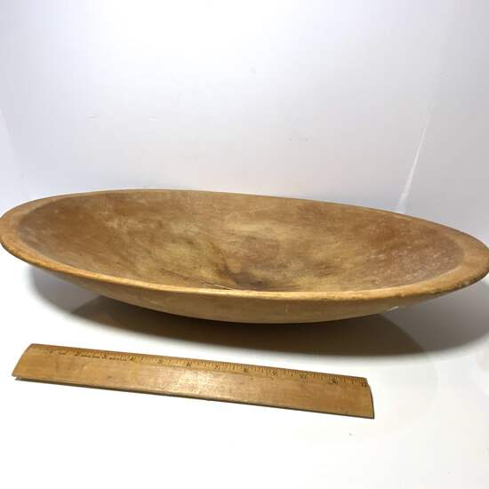Large Oval Antique Wooden Dough Bowl with Double Handles