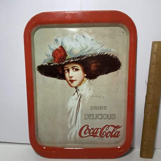 """1971 Metal """"Drink Delicious Coca-Cola"""" Tray"""