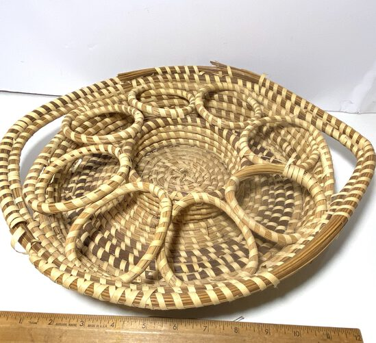 Sweet Grass Gullah 8 Hole Drink Serving Basket with Double Handles
