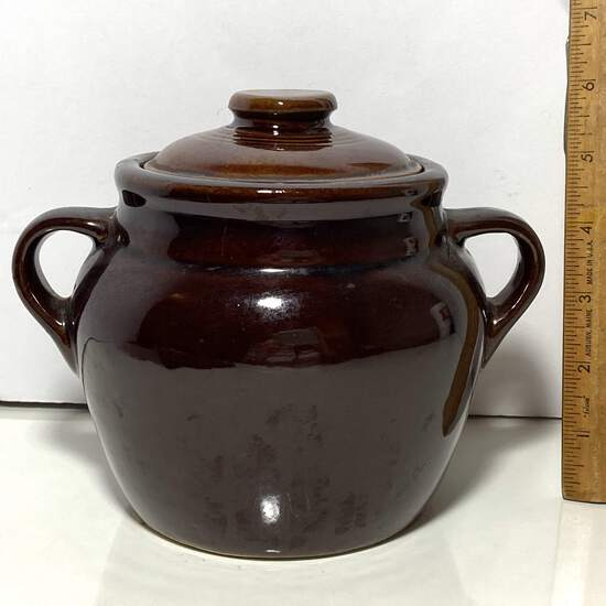 Vintage Monmouth Lidded Pottery Jar with Double Handles