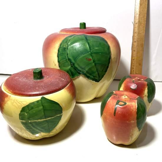 4 pc Vintage Set of Apple Canisters & Salt & Pepper Shakers