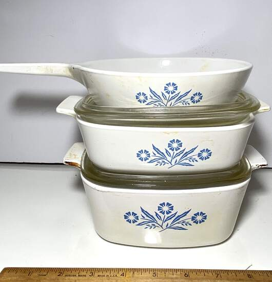 3 pc Cornflower Blue Corning Ware Casserole Dishes with Lids & Frying Pan