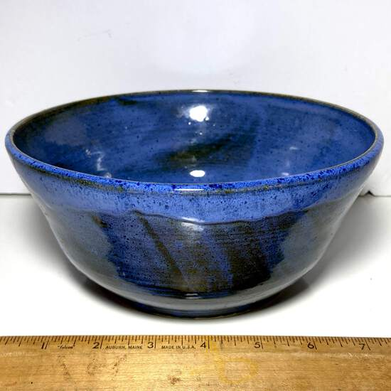 Pretty Blue Glazed Pottery Bowl Signed on the Bottom