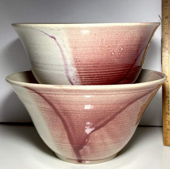 Pair of Pretty Pottery Bowls Signed on the Bottom