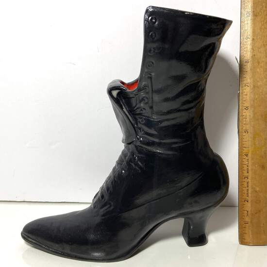 Ceramic Black Boot Match Holder with Red Interior