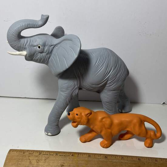 Hand Painted Ceramic Elephant & Tiger