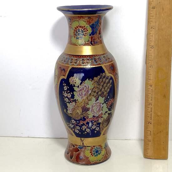 Pretty Oriental Porcelain Vase with Cloisonné Enamel Floral Design & Gilt Accent