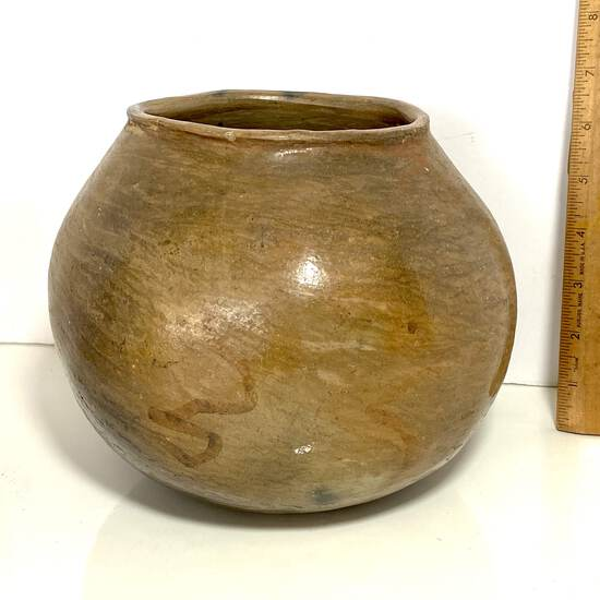 Early Pottery Vessel with Round Bottom & Zigzag Lines Possibly Native American