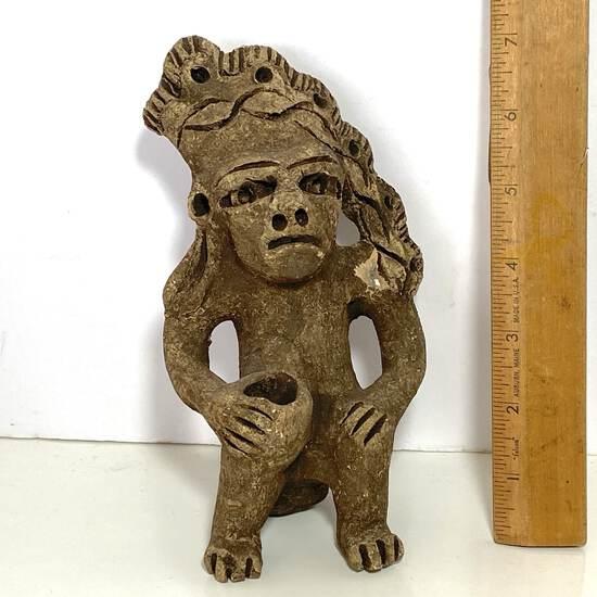 Carved Stone Native Figurine Holding Vessel