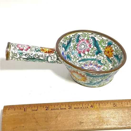 Pretty Floral Cloisonne' Brass Pot with Handle